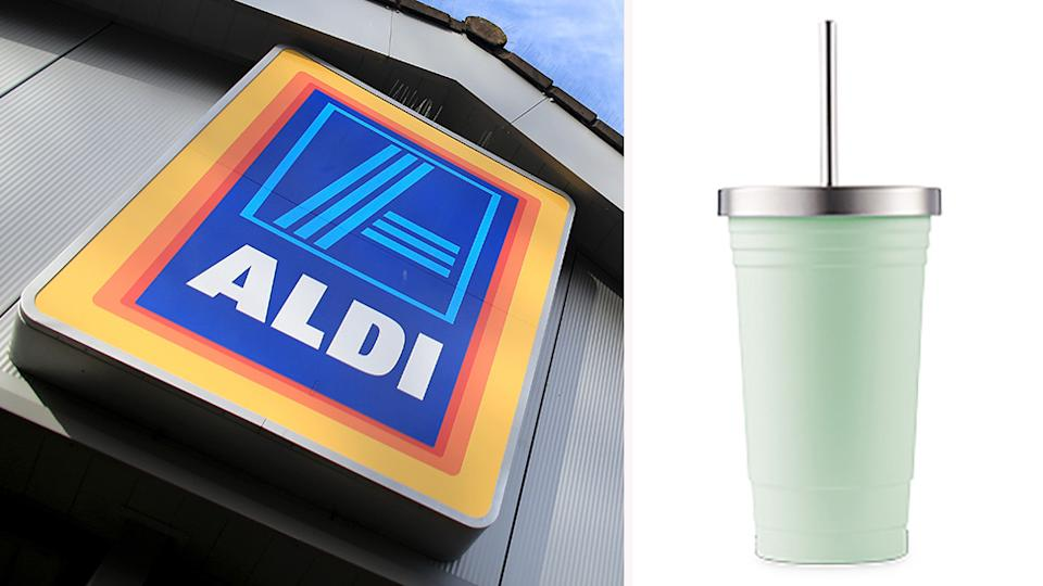 Aldi fans are going nuts over their $10 insulated cup that keeps drinks icy cold for hours. Photo: Getty/Aldi