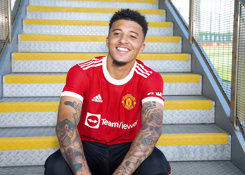 New signing Jadon Sancho of Manchester United is unveiled at the Carrington Training Ground (Getty)