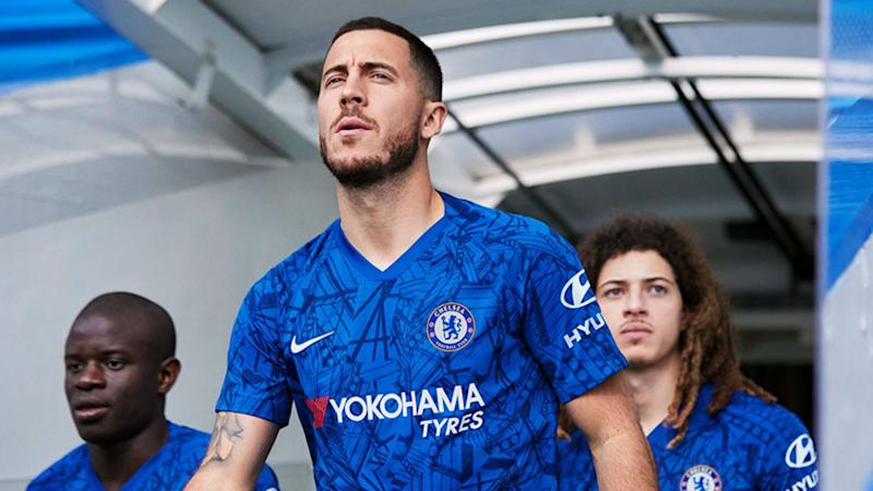 385d75ac9a3 Real Madrid target Hazard front   centre as Chelsea launch new kit