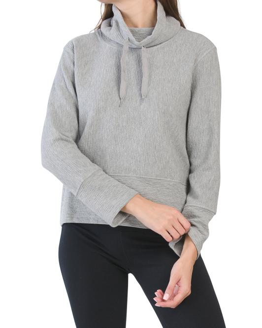 Jacquard Crop Cowl Pullover Top
