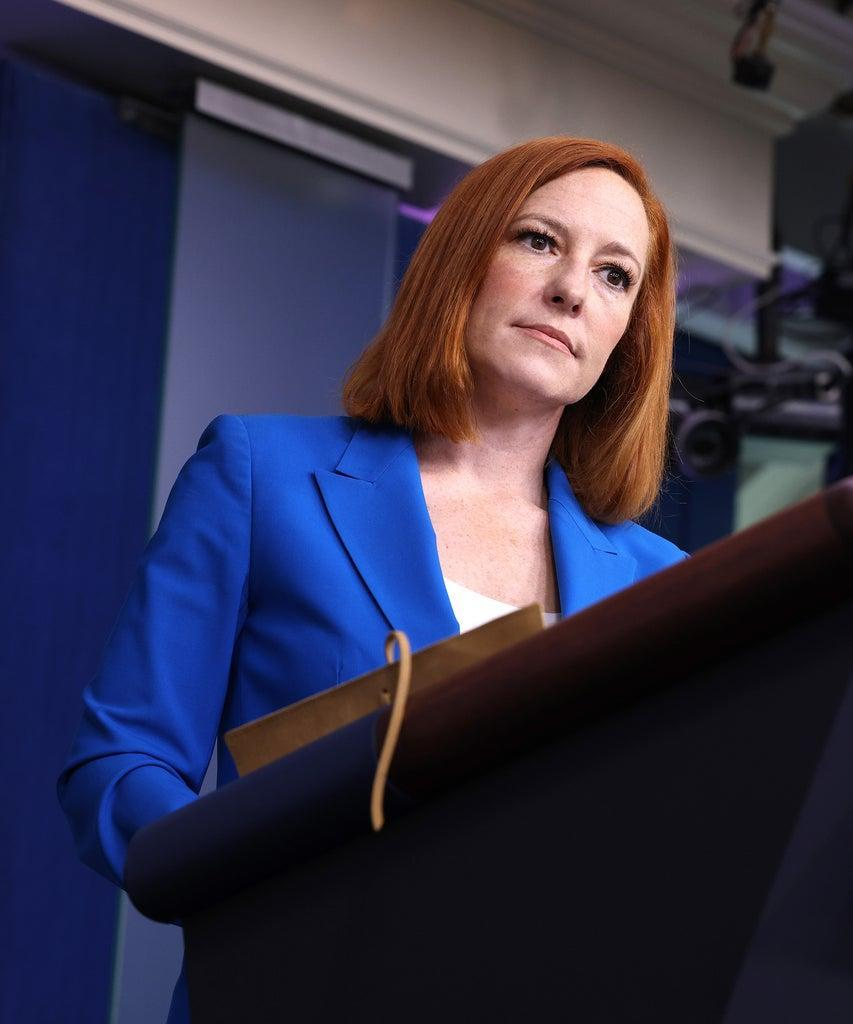 WASHINGTON, DC – MAY 17: White House Press Secretary Jen Psaki speaks at a daily press briefing at the James Brady Press Briefing Room of the White House on May 17, 2021 in Washington, DC. Psaki spoke on the United States' involvement in the current Israel and Palestine conflict. (Photo by Anna Moneymaker/Getty Images)