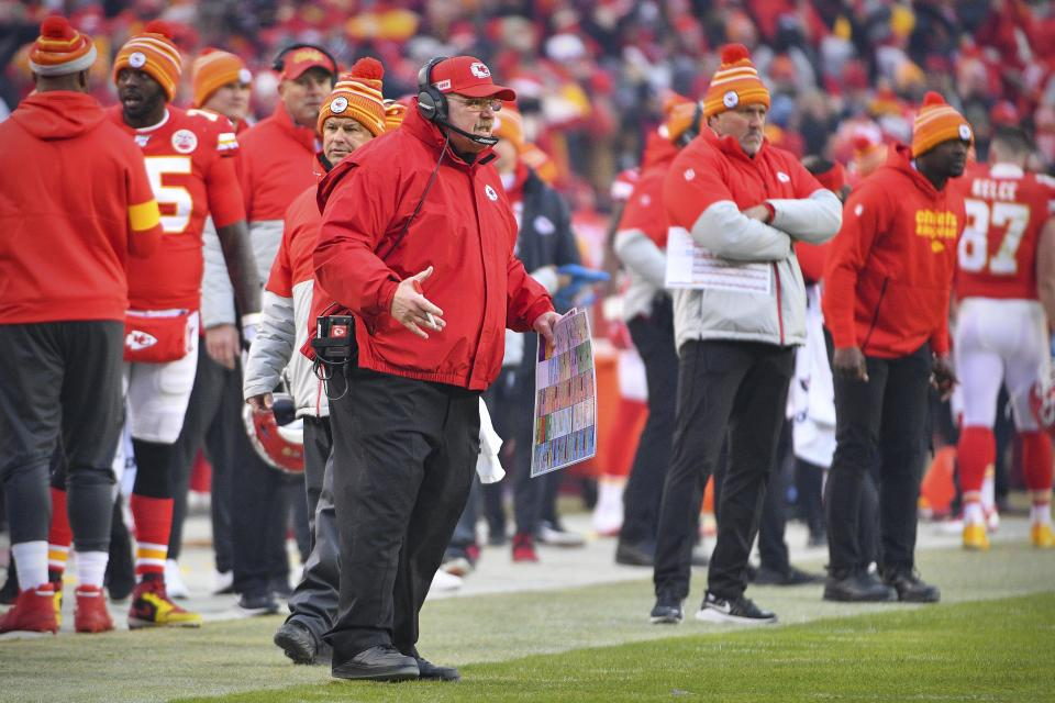 Jan 12, 2020; Kansas City, MO, USA; Kansas City Chiefs head coach Andy Reid yells to his team during the second quarter against the Houston Texans in a AFC Divisional Round playoff football game at Arrowhead Stadium.  Mandatory Credit: Denny Medley-USA TODAY Sports