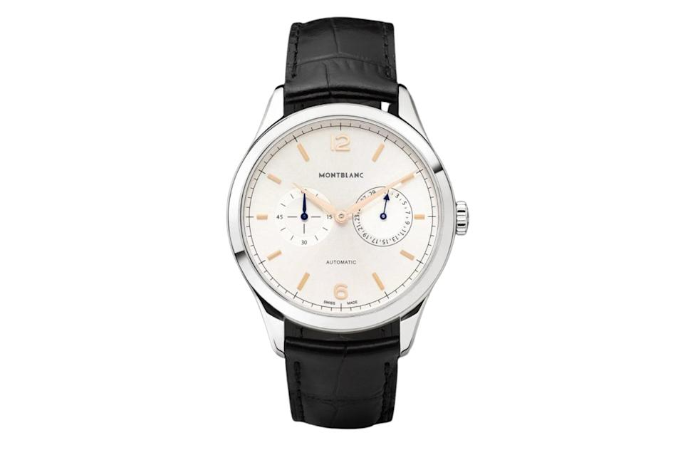"$2845, Mr Porter. <a href=""https://www.mrporter.com/en-us/mens/product/montblanc/luxury-watches/dress-watches/heritage-chronometrie-twincounter-date-automatic-40mm-stainless-steel-and-alligator-watch-ref-no-114872/16301891330337723"" rel=""nofollow noopener"" target=""_blank"" data-ylk=""slk:Get it now!"" class=""link rapid-noclick-resp"">Get it now!</a>"