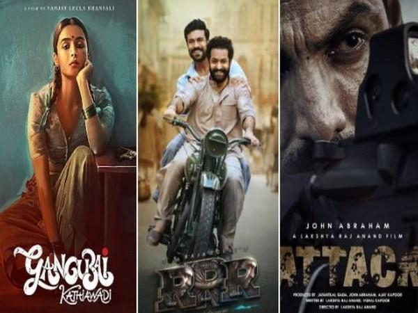Posters of the movies: 'Gangubai Kathiawadi', 'RRR', 'Attack' (L to R) (Image source: Twitter)