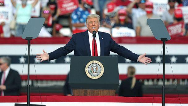 PHOTO: President Donald Trump speaks during his campaign event at The Villages Polo Club, Oct. 23, 2020, in The Villages, Fla. (Joe Raedle/Getty Images)