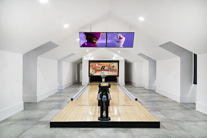 A two lane bowling alley is just one amenity in the children's lounge.