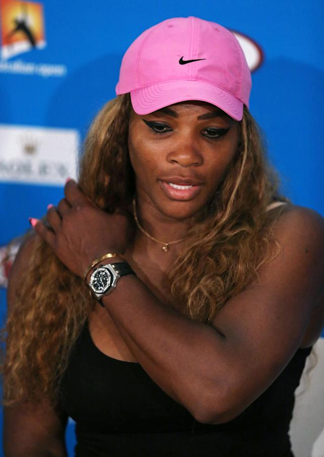Serena Williams of the U.S. speaks during a press conference after her fourth round loss to Ana Ivanovic of Serbia at the Australian Open tennis championship in Melbourne, Australia, Sunday, Jan. 19, 2014. (AP Photo/Shuji Kajiyama)