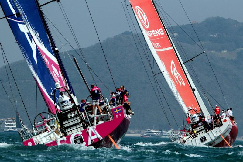 (file picture) The Dongfeng Race Team (R) sets out for Leg 4 to Auckland in the Volvo Ocean Race, offshore sailing's most prestigious round-the-world race, from Sanya, in southern China's Hainan Island on February 8, 2015. AFP PHOTO / VICENTE MIÑA (AFP Photo/VICENTE MIÑA)