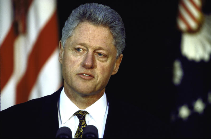 In a 1998 news conference in the White House Rose Garden, President Bill Clinton apologized for his sexual relationship with intern Monica Lewinsky. (Cynthia Johnson via Getty Images)