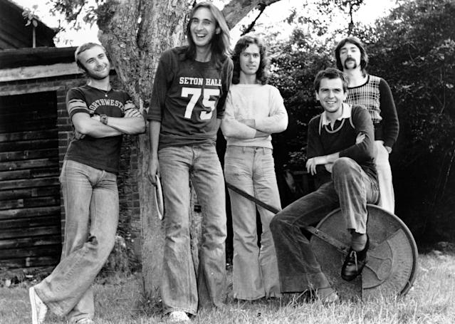 "1972: (L-R) Drummer Phil Collins, guitarist Mike Rutherford, keyboard and guitarist Tony Banks, singer Peter Gabriel, and drummer Steve Hackett of the progressive-rock group ""Genesis""pose for a portrait in 1972. (Photo by Michael Ochs Archives/Getty Images)"