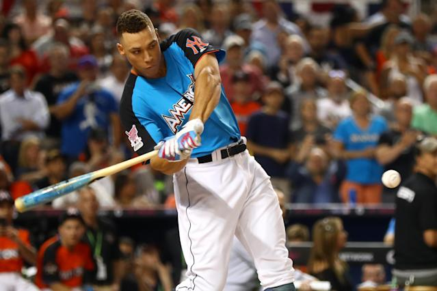 Yankees slugger Aaron Judge dominated the 2017 Home Run Derby, which draws eyes to premier power bats even without team stakes. (Photo by Alex Trautwig/MLB via Getty Images)