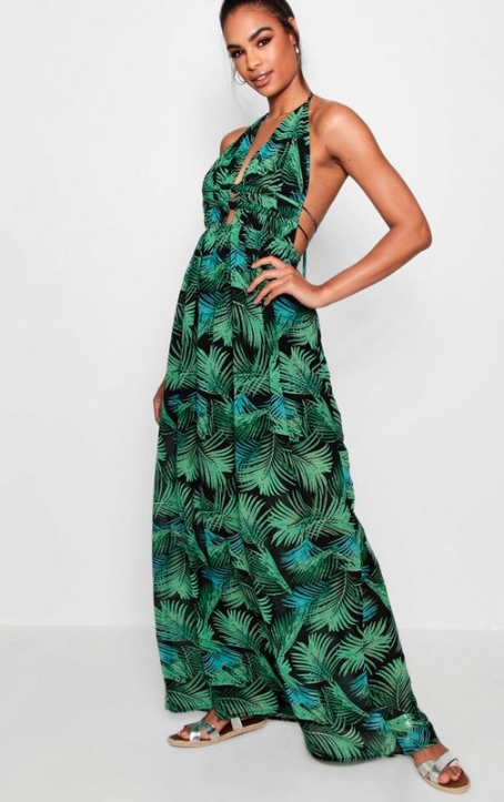 Boohoo Tall Plunge Front Palm Print Maxi Dress - $45 currently on sale for $22.50
