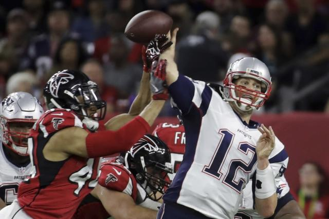 For at least one play, Vic Beasley put the heat on Tom Brady in February's Super Bowl. (AP)
