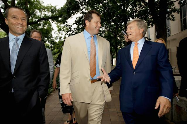 WASHINGTON, DC - JUNE 18: Former all-star baseball pitcher Roger Clemens (C) and his attorney Rusty Hardin (R) arrive at the U.S. District Court after the jury announced it has a verdict in Clemens' perjury and obstruction trial June 18, 2012 in Washington, DC. The jury found Clemens not guilty on all counts. The former Boston Red Sox and New York Yankees pitcher's original trial in 2011 was declared a mistrial after the judge said the prosecution presented inadmissible testimony that prejudiced the jury. A seven-time Cy Young Award winner, Clemens is on trial for making false statements, perjury and obstructing Congress when he testified about steroid use during a February 2008 inquiry by the House Oversight and Government Affairs. (Photo by Chip Somodevilla/Getty Images)
