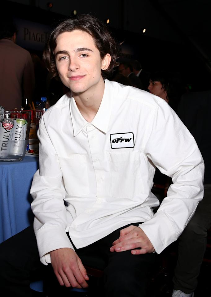"<p>The Off-White shirt Timothée wore to the 2018 Film Independent Spirit Awards would later be <a href=""https://www.hollywoodreporter.com/news/nick-kroll-john-mulaney-joke-i-tonya-call-me-by-your-name-spirit-awards-2018-monologue-1090740"" target=""_blank"" class=""ga-track"" data-ga-category=""Related"" data-ga-label=""https://www.hollywoodreporter.com/news/nick-kroll-john-mulaney-joke-i-tonya-call-me-by-your-name-spirit-awards-2018-monologue-1090740"" data-ga-action=""In-Line Links"">compared to a gas station attendant's uniform</a> by comedian Nick Kroll. Hey, at least it was memorable.</p>"