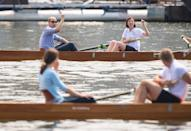 William punches the air as he beats Kate in a rowing race on their royal tour of Germany in July 2017. <em>[Photo: PA]</em>