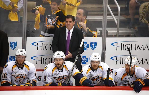 "PITTSBURGH, PA – MAY 29: head coach Peter Laviolette of the <a class=""link rapid-noclick-resp"" href=""/nhl/teams/nas/"" data-ylk=""slk:Nashville Predators"">Nashville Predators</a> looks on from the bench during the first period in Game One of the 2017 NHL Stanley Cup Final against the <a class=""link rapid-noclick-resp"" href=""/nhl/teams/pit/"" data-ylk=""slk:Pittsburgh Penguins"">Pittsburgh Penguins</a> at PPG Paints Arena on May 29, 2017 in Pittsburgh, Pennsylvania. (Photo by Gregory Shamus/Getty Images)"