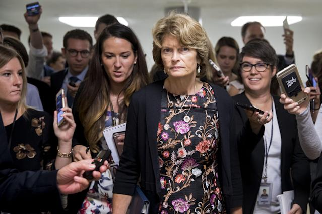 Sen. Lisa Murkowski, R-Alaska, with reporters at the Capitol, Sept. 19, 2017. (Photo: Andrew Harrer/Bloomberg via Getty Images)