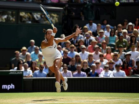 Germany's Julia Goerges in action during her semi final match against Serena Williams of the U.S. REUTERS/Tony O'Brien