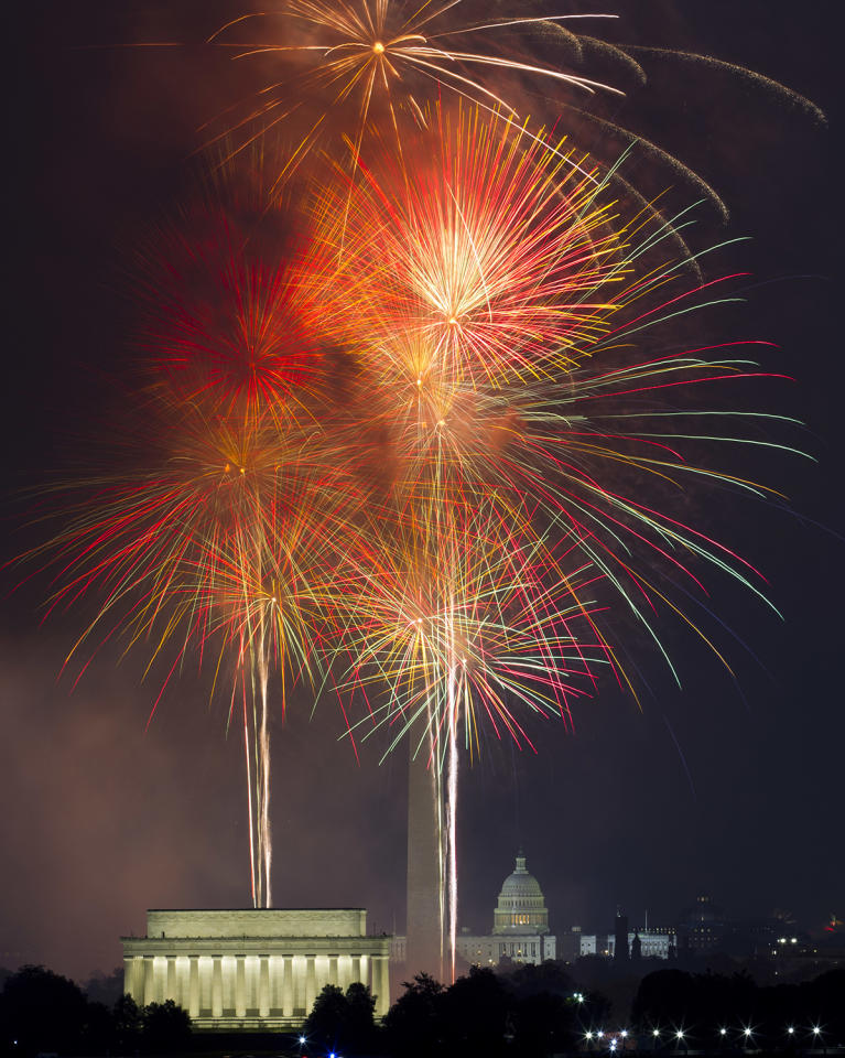 <p>Fireworks explode over the Lincoln Memorial, left, Washington Monument, center, and U.S. Capitol, at the National Mall in Washington, Tuesday, July 4, 2017, during the Fourth of July celebration. (AP Photo/Jose Luis Magana) </p>
