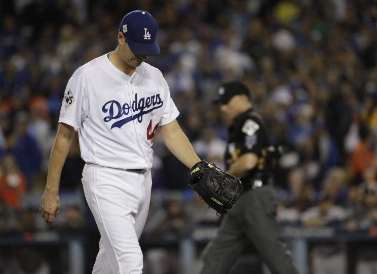 Rich Hill of the Dodgers leaves during the fifth inning of World Series Game 6. (AP)