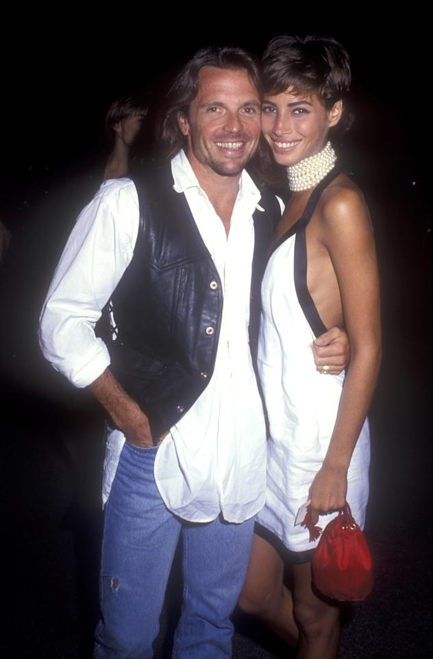 <p>At Herbs Ritts birthday party in 1990, Turlington poses with Roger Wilson wearing a tousled pixie cut with sun-kissed skin.</p>