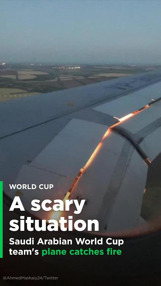 The Saudi Arabian national team's rough start to World Cup continued on Tuesday, as the team's plane caught fire in midair. Flames were spotted coming out of the engine of the Russian Airlines Airbus that was carrying the Saudi team to Rostov, where it is set to face Uruguay on Wednesday.