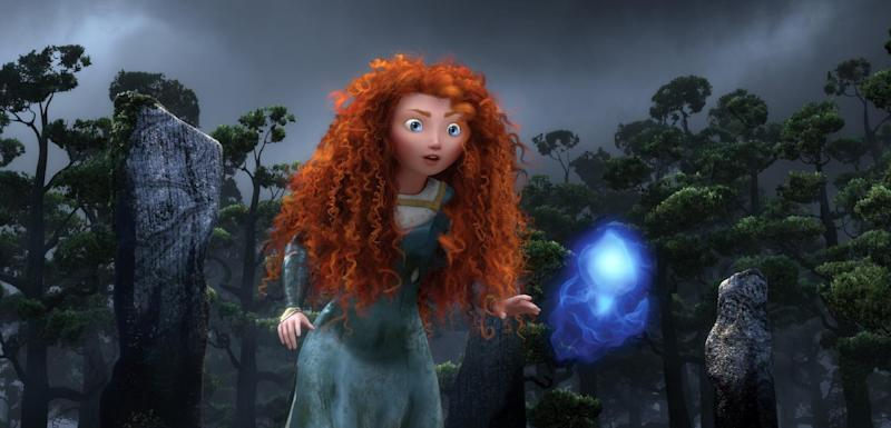 """FILE - In this undated publicity film image released by Disney/Pixar, the character Merida, voiced by Kelly Macdonald, follows a Wisp in a scene from """"Brave."""" The Disney/Pixar animated film has been nominated for an Academy Award in the Animated Feature Film category. The 85th Academy Awards are on Sunday, Feb. 24, 2013, in Los Angeles. (AP Photo/Disney/Pixar, File)"""