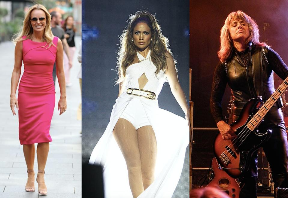Amanda Holden, JLo and Suzi Quatro have all perfected a signature style, pictured in 2019, 2014 and 2011 respectively. (Getty Images)
