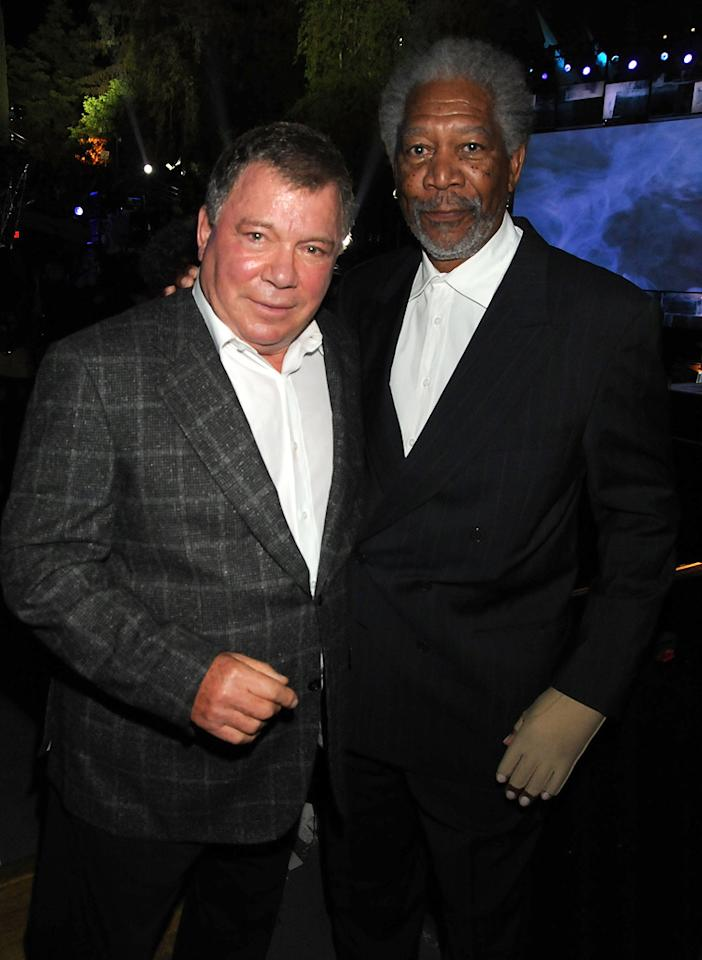 """<a href=""""http://movies.yahoo.com/movie/contributor/1800014440"""">William Shatner</a> and <a href=""""http://movies.yahoo.com/movie/contributor/1800020214"""">Morgan Freeman</a> at the 2009 Spike TV Scream Awards in Los Angeles - 10/17/2009"""