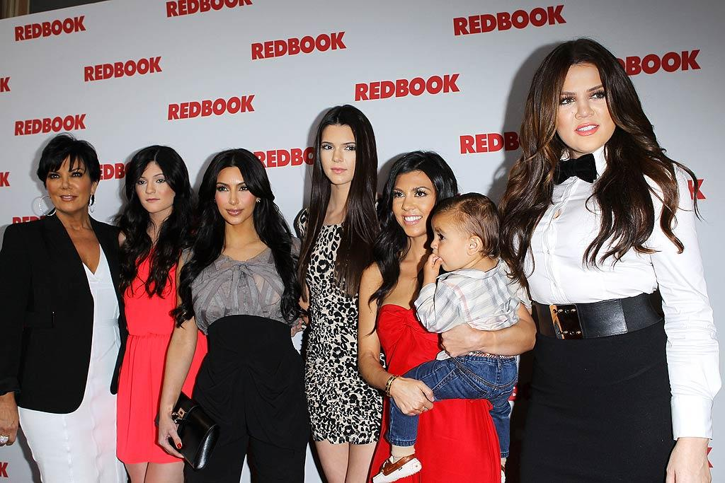 """Reality star Kim Kardashian and her famous family celebrated gracing the May cover of <i>Redbook</i> on Monday night with a bash at the Sunset Tower Hotel in Hollywood, California. The crew included Kris Jenner, Kendall Jenner, Kim, Kylie Jenner, Kourtney Kardashian, Mason Disick, and Khloe Kardashian ... who was inexplicably dressed like a server for the evening. Michael Tran/<a href=""""http://www.filmmagic.com/"""" target=""""new"""">FilmMagic.com</a> - April 11, 2011"""