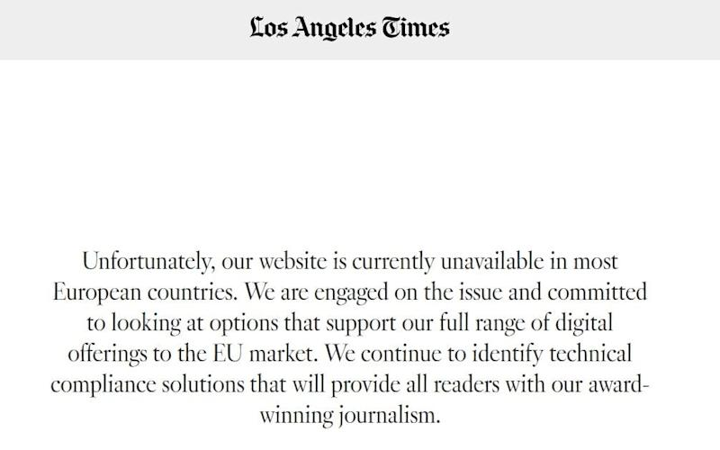 The LA Times has taken its website offline for UK and European audiences due to GDPR
