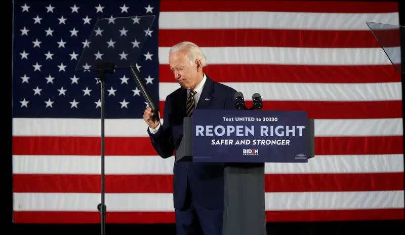 FILE PHOTO: FILE PHOTO: Democratic U.S. presidential candidate Biden departs after speaking at campaign event in Darby, Pennsylvania
