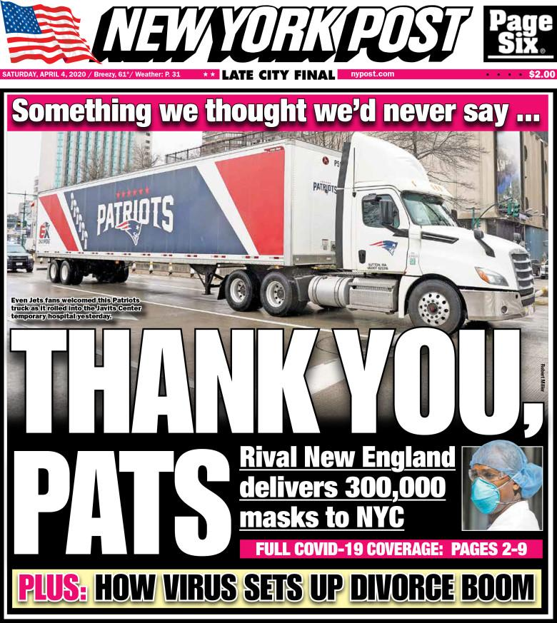 New York Post front page, April 4, 2002, thanking the New England Patriots.