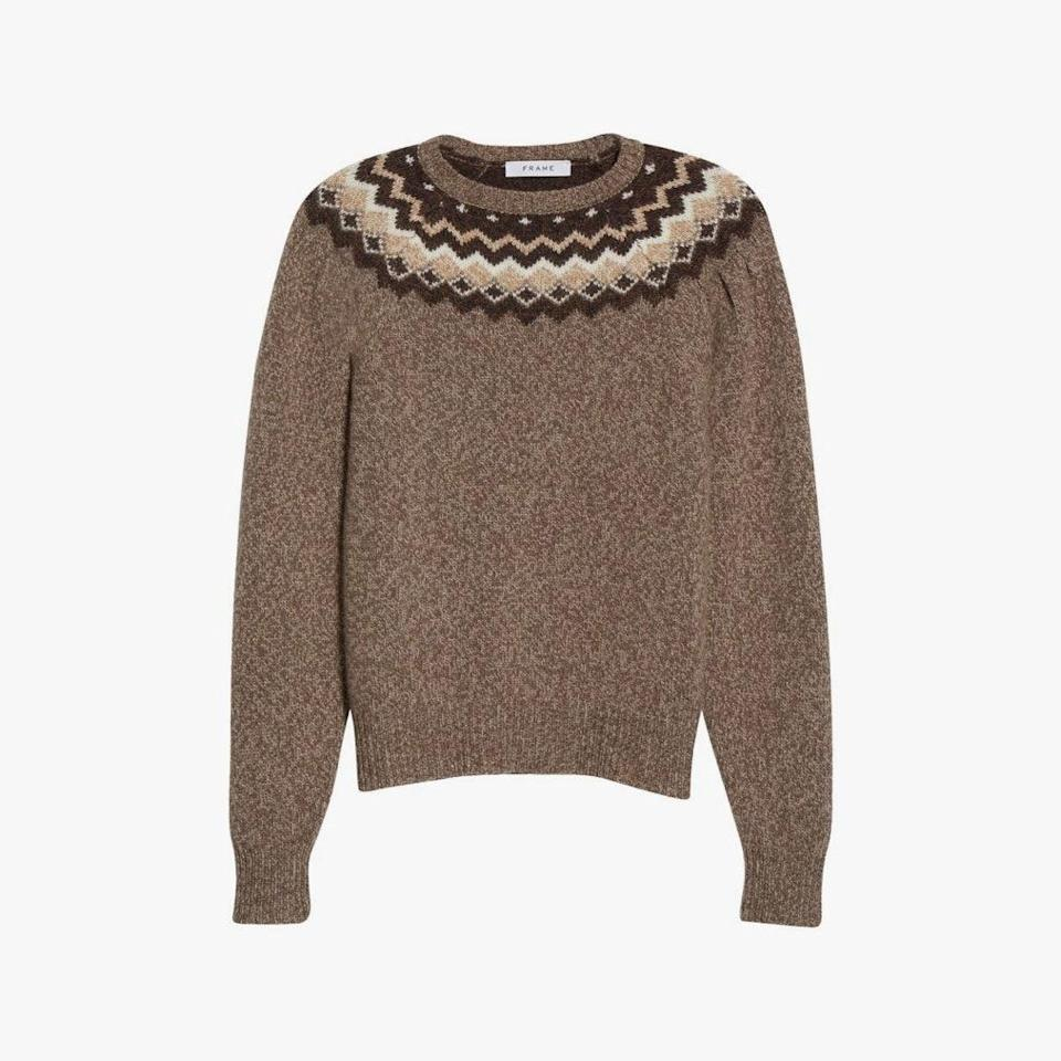 "$378, NORDSTROM. <a href=""https://www.nordstrom.com/s/frame-fair-isle-merino-wool-cashmere-blend-sweater/5793352"" rel=""nofollow noopener"" target=""_blank"" data-ylk=""slk:Get it now!"" class=""link rapid-noclick-resp"">Get it now!</a>"