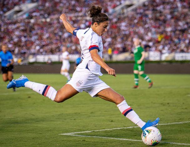 PHOTO: Carli Lloyd takes a shot during the United States International Friendly match against Ireland at the Rose Bowl on August 3, 2019, in Pasadena, Calif. (Shaun Clark/Getty Images, FILE)