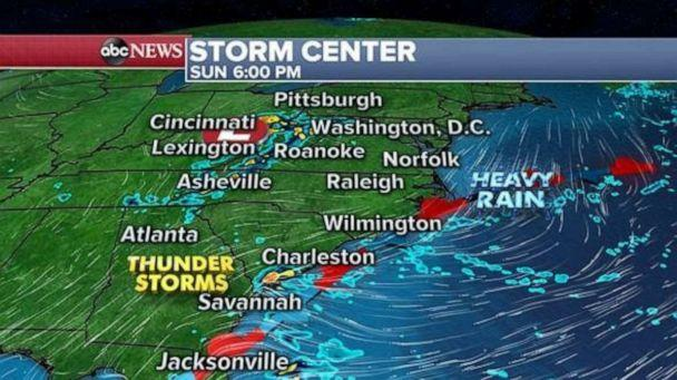 PHOTO: More storms will fire up along this stationary front Sunday in the Southeast U.S. with heavy rain locally and perhaps some gusty winds occasionally. (ABC News)