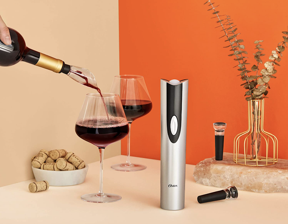 Get to the good stuff faster with this electric wine bottle opener bundle.