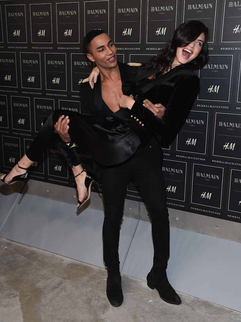 NEW YORK, NY - OCTOBER 20: Creative Director for Balmain Olivier Rousteing (L) and Model Kendall Jenner attend the BALMAIN X H&M Collection Launch at 23 Wall Street on October 20, 2015 in New York City. (Photo by Dimitrios Kambouris/Getty Images for H&M)