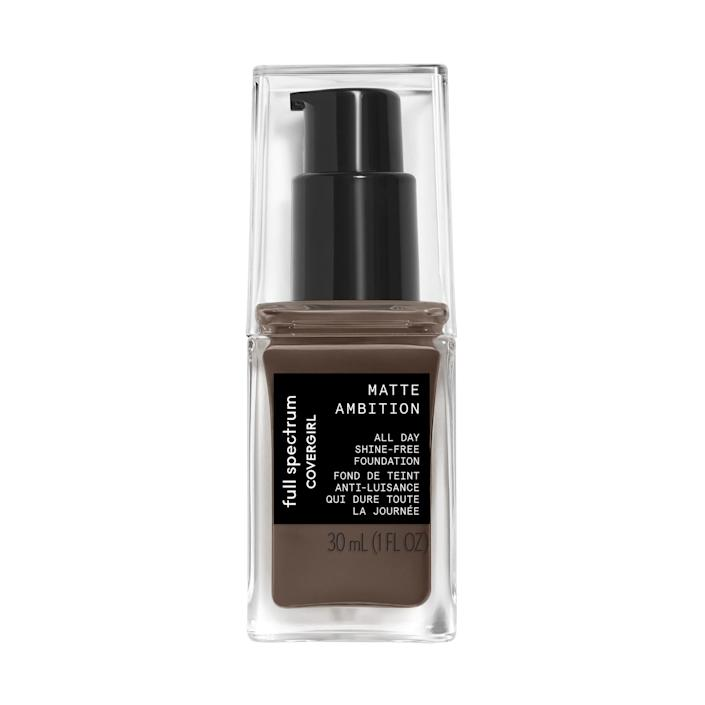 """Made with women of color in mind, the CoverGirl Full Spectrum Matte Ambition All Day Foundation comes in three different undertones to help make finding the perfect match for your skin easier. Though it's full coverage, it doesn't feel heavy on your skin and leaves you with a natural dewy glow — and the price is right, for sure. $9, Amazon. <a href=""""https://www.amazon.com/gp/product/B07KZ45TWN?ie=UTF8&tag=etaleuscovergirl-20&linkCode=as2&camp=1634&creative=19450&creativeASIN=B07KZ45TWN&m=ATVPDKIKX0DER"""" rel=""""nofollow noopener"""" target=""""_blank"""" data-ylk=""""slk:Get it now!"""" class=""""link rapid-noclick-resp"""">Get it now!</a>"""