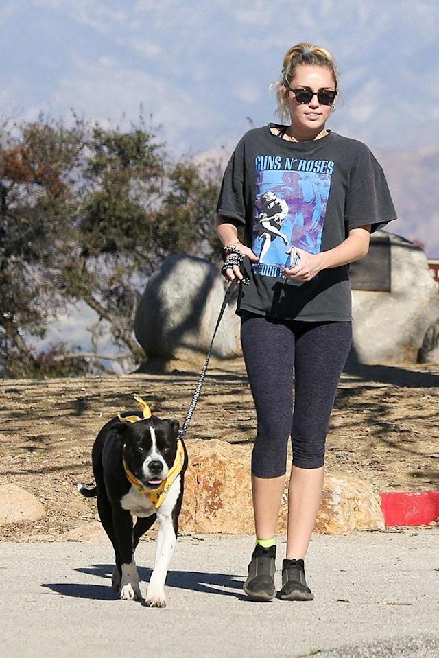 <p>Dog days! Just back from a vacation in Australia, the singer was spotted wrapping up a hike on Tuesday with her pup Mary Jane. (Photo: Backgrid) </p>