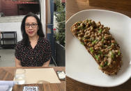 This combination of photos shows Anne Alderete at a restaurant on Aug. 12, 2020, left, and a dish of natto and chives on gluten free sourdough bread. Whether it's kimchi, beets or broccoli, the pandemic has had a strange impact on food cravings. Alderete is enjoying something she never thought she would: natto. Made of fermented soy beans, natto is popular in Japan but considered too slimy and stinky for some. (J. Alderete, left, and A. Alderete via AP)