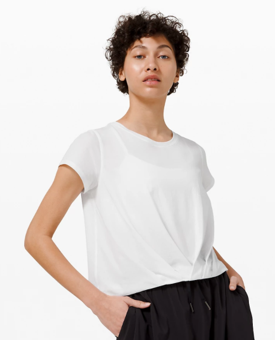 Pleats and Thank You Short Sleeve in white