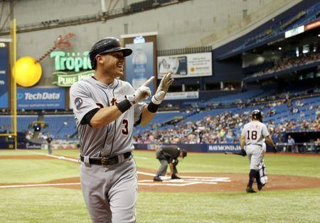 FILE PHOTO: Apr 20, 2017; St. Petersburg, FL, USA; Detroit Tigers second baseman Ian Kinsler (3) celebrates as he hits a home run during the first inning against the Tampa Bay Rays at Tropicana Field. Mandatory Credit: Kim Klement-USA TODAY Sports
