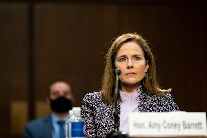 Supreme Court nominee Judge Amy Coney Barrett testifies before the Senate Judiciary Committee on the third day of her Supreme Court confirmation hearing on Capitol Hill on October 14, 2020 in Washington, DC. (Anna Moneymaker-Pool/Getty Images)