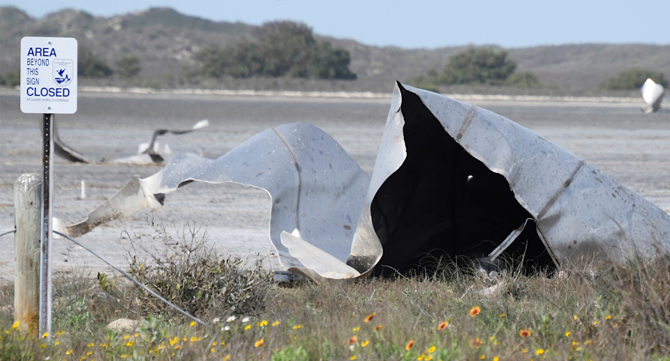 Debris could be seen littered across south Texas following the rocket's failure to land. Source: Reuters