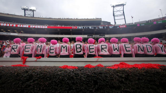 Georgia fans had a moment of silence for Arkansas State coach Blake Anderson's wife Wendy, who died on Aug. 19. (AP Photo/John Bazemore)