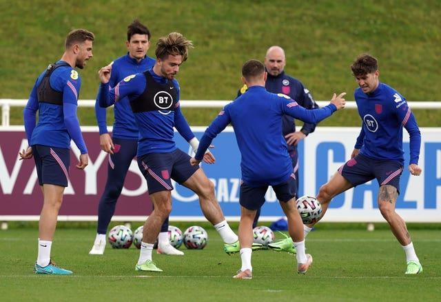 England players take part in a training session on Monday