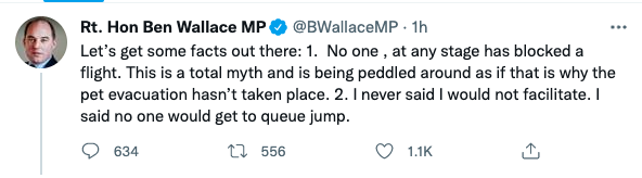 Ben Wallace fires angry rebuke at Pen Farthing over Afghan evacuation