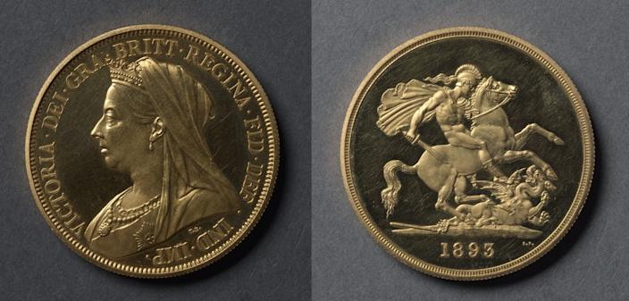 Five Pound coin, 1893, designed by Thomas Brock. Gold.